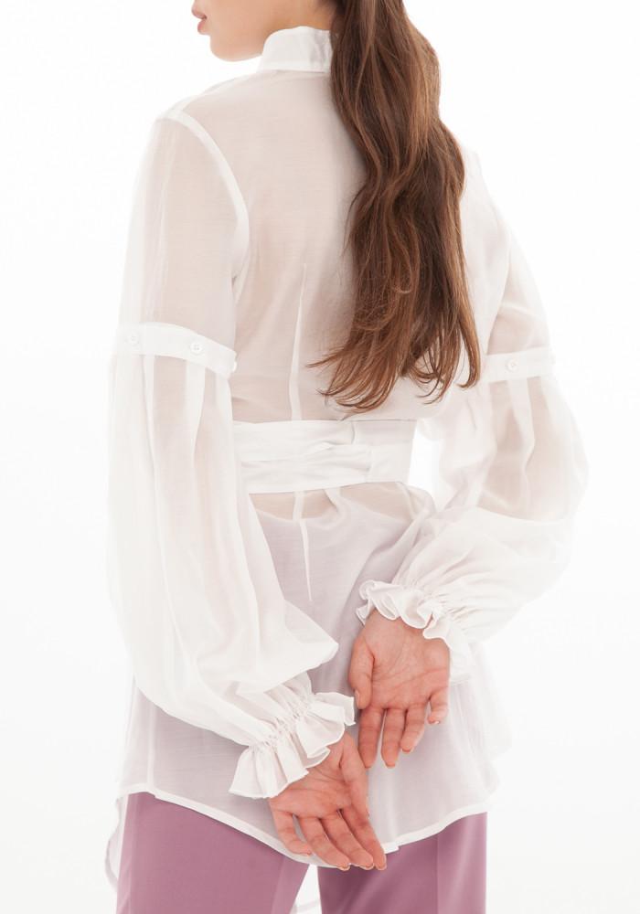 Cotton white blouse-transformer Chloe