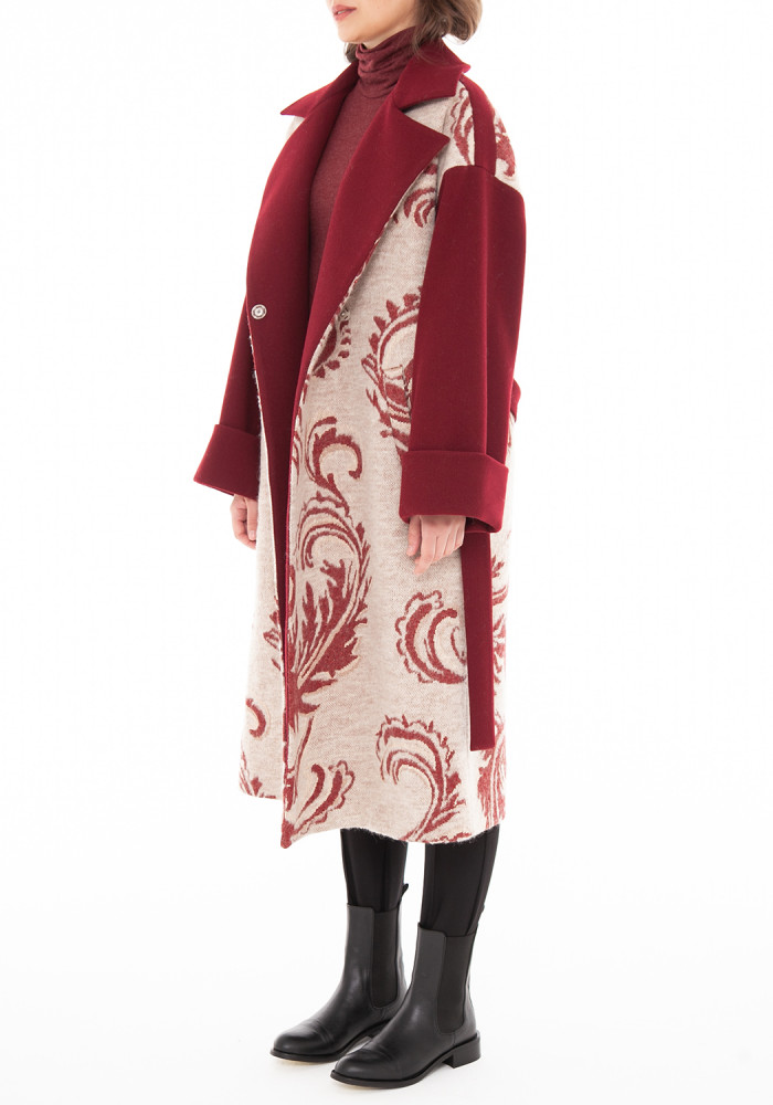 """Осіннє бордово-бежеве пальто """"Карачі"""""""