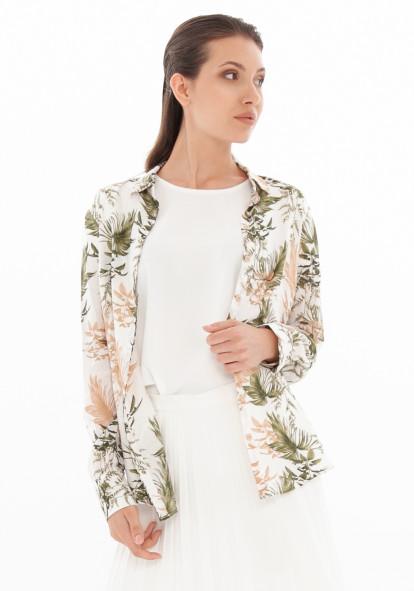 """Блуза белая в растительный принт """"Глуско"""""""