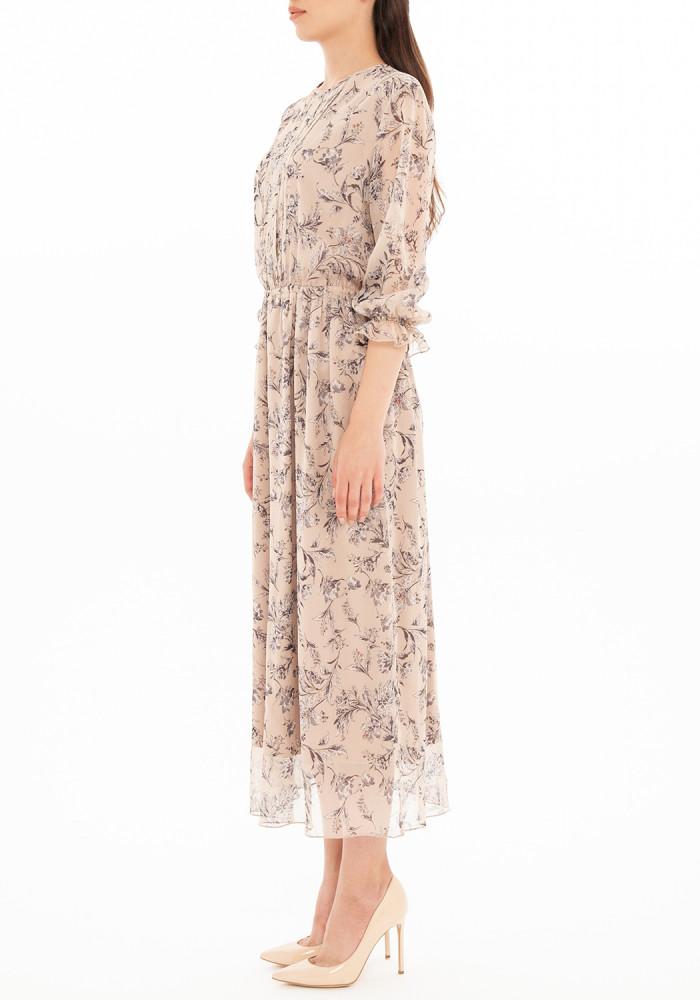 Beige dress in floral print Sabina