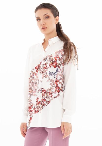 """Белая блуза с цветной вставкой """"Блауз"""""""