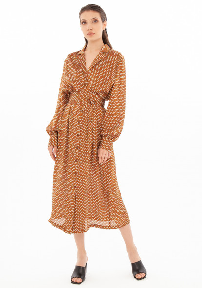 Mustard-colored shirt dress with print  Zlata