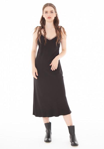 """Платье чёрное на тонких бретелях """"Эмилия"""""""