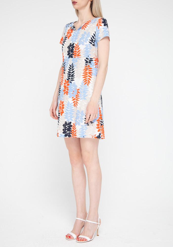 """Льняное мини-платье в яркий принт глицинии """"Амулет"""""""