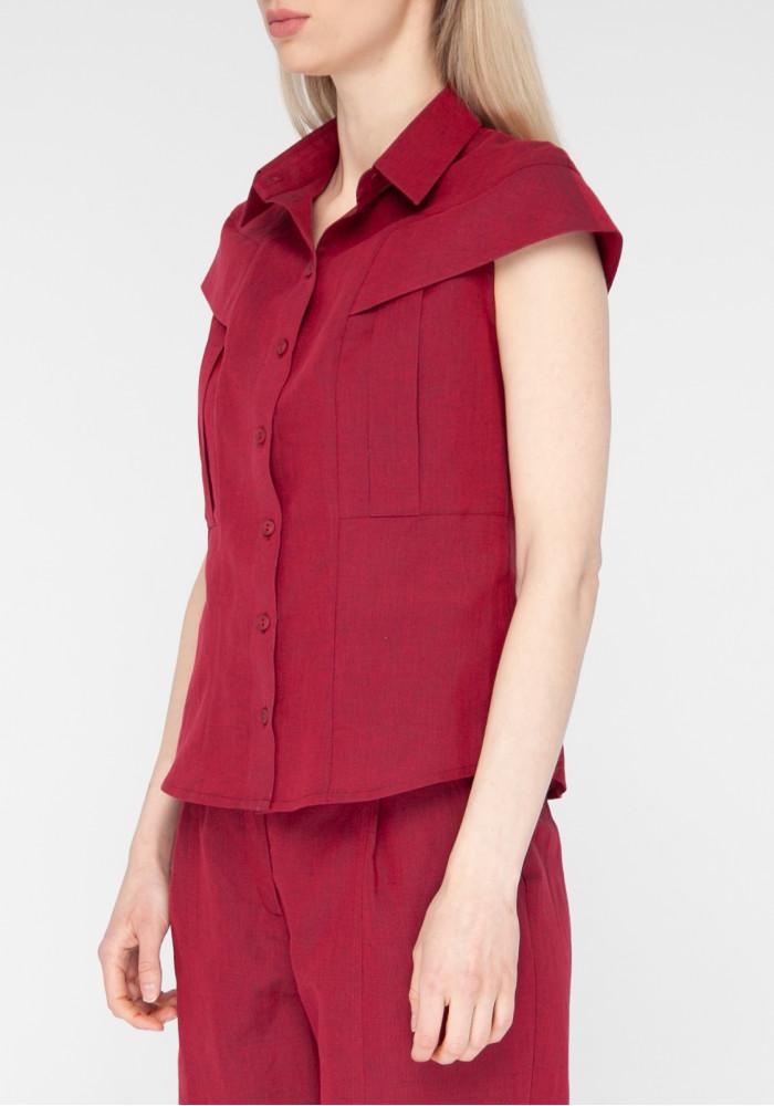 """Льняная бордовая блуза """"Бельвью"""""""