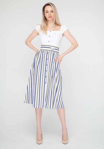 White dress with contrasting skirt Bel