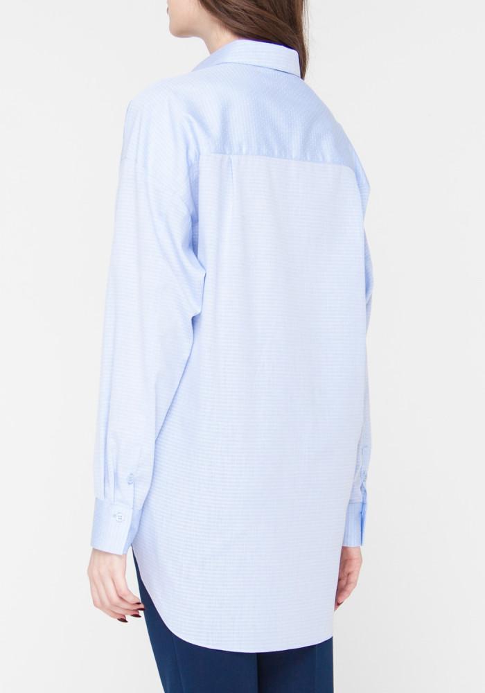 """Блуза прямого кроя """"Корсика"""" с принтом в голубую полоску"""