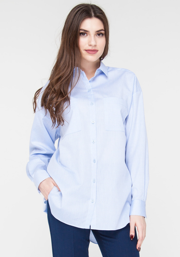 Corsica Straight Fit Blouse with Blue Striped Print