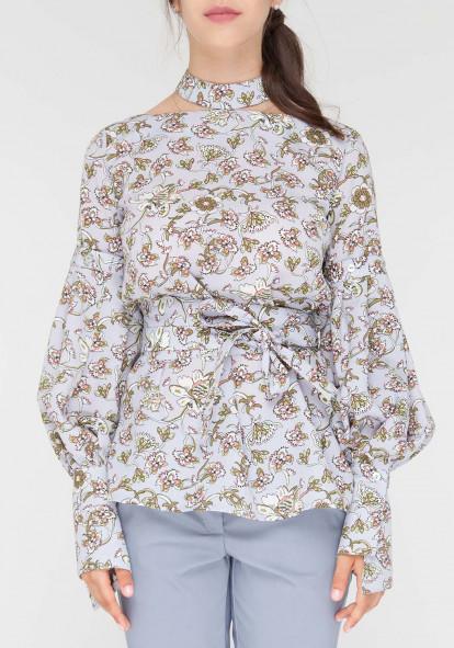 """Блуза-трансформер серого цвета в цветочный принт """"Милена 2"""""""