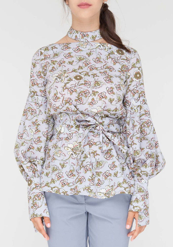 "Transforming blouse ""Milena2"" gray in floral print"