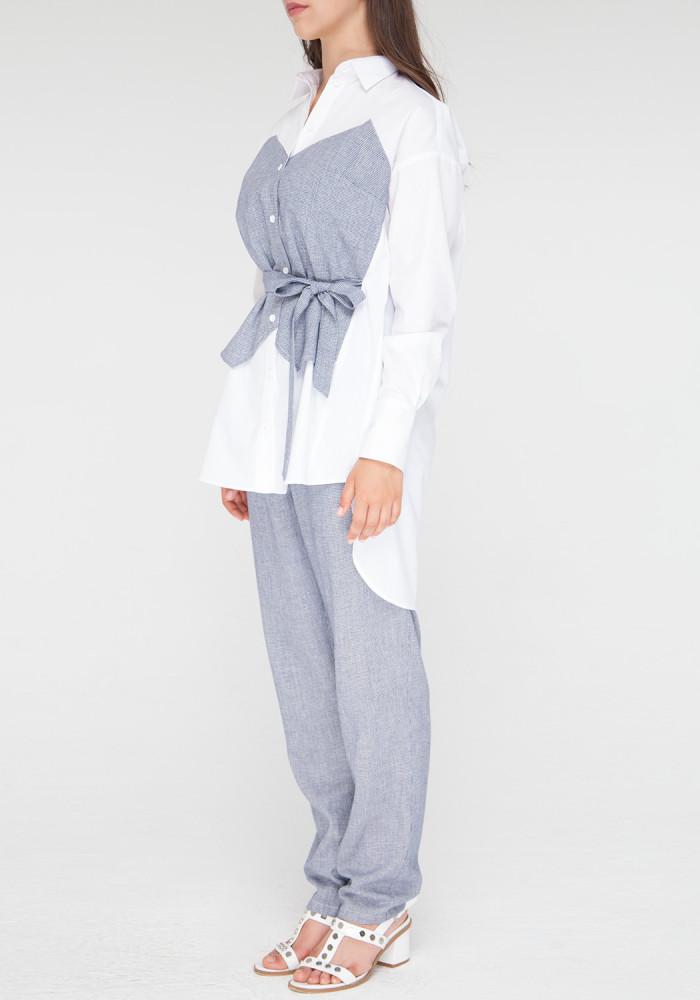 """Бавовняна блуза прямого крою """"Парадайз"""" біло-блакитна"""