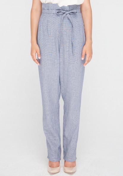 """Лляні штани з високою посадкою  блакитного кольору """"Кварц"""""""