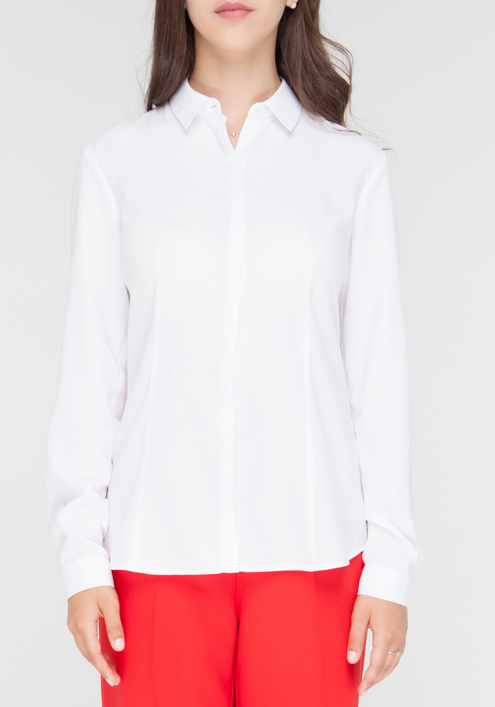 White classic fitted blouse