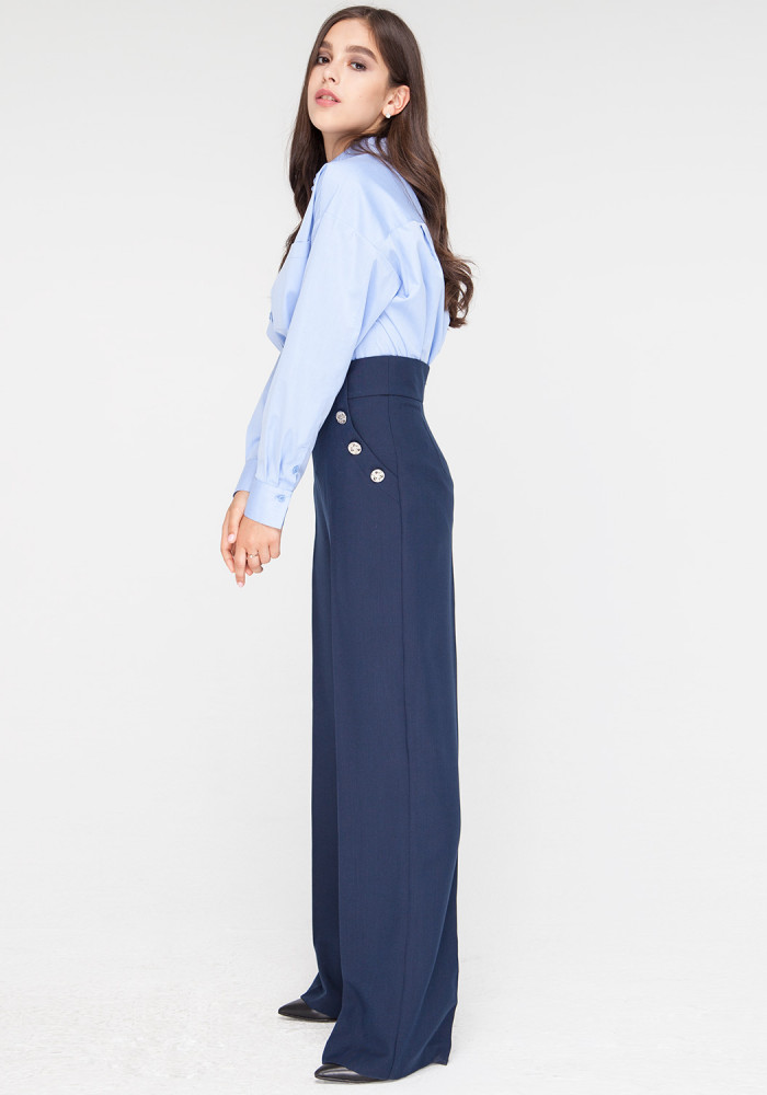 Wide Leg Blue trousers Cherry