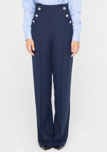 """Широкие брюки с высокой посадкой синего цвета """"Черри"""""""