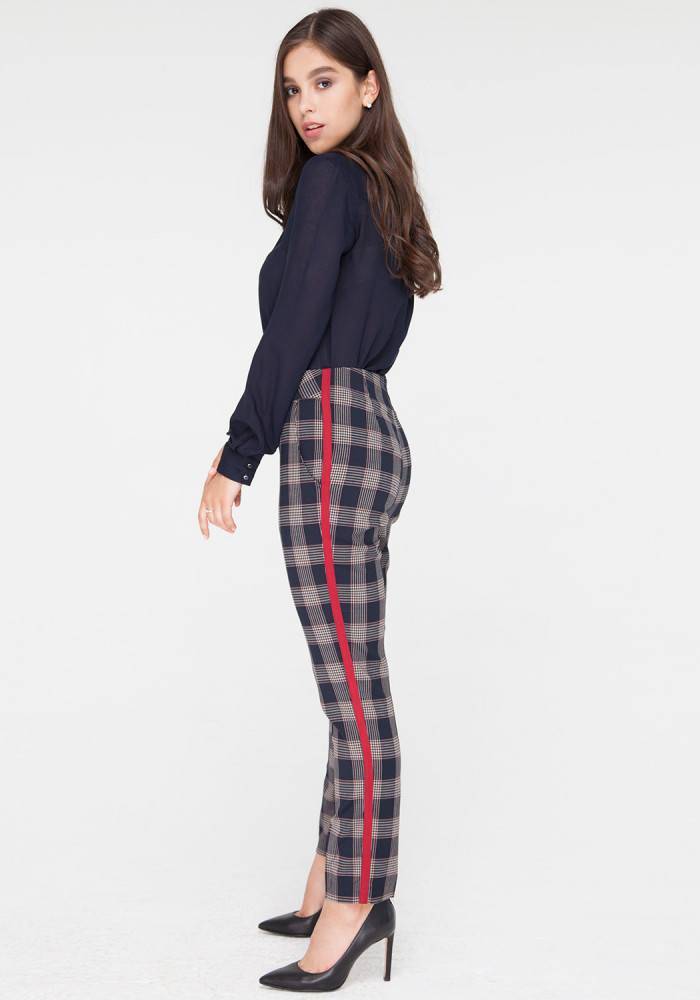 Cropped Check Trousers in Striped Print Ibby