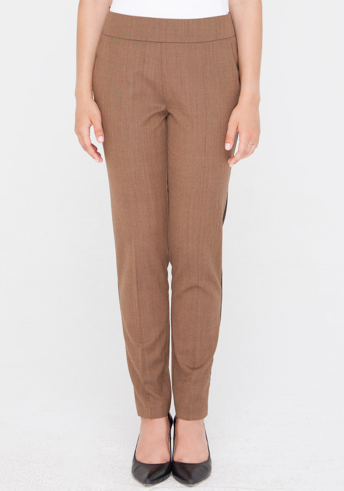 """Укорочені завужені брюки """"Іббі3"""" коричневого кольору"""