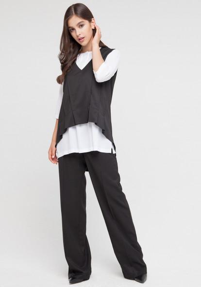 """Широкие брюки с высокой посадкой черного цвета """"Колизьони"""""""