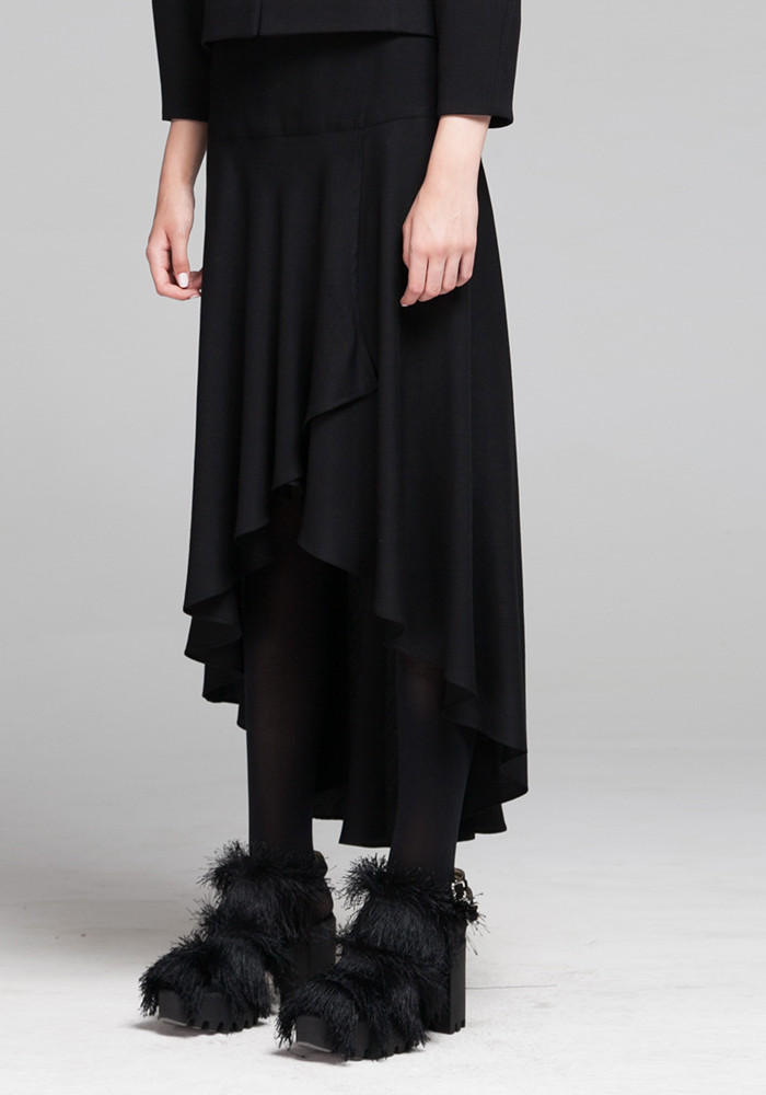 "Asymmetric skirt black ""Rebeca"""