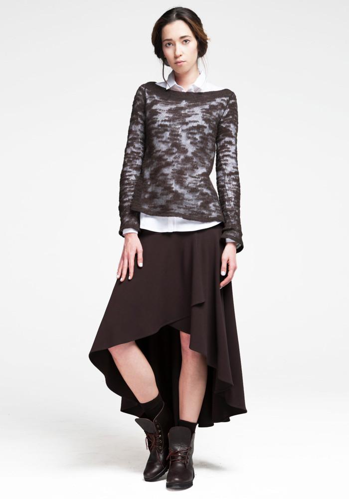Asymmetric chocolate-colored skirt