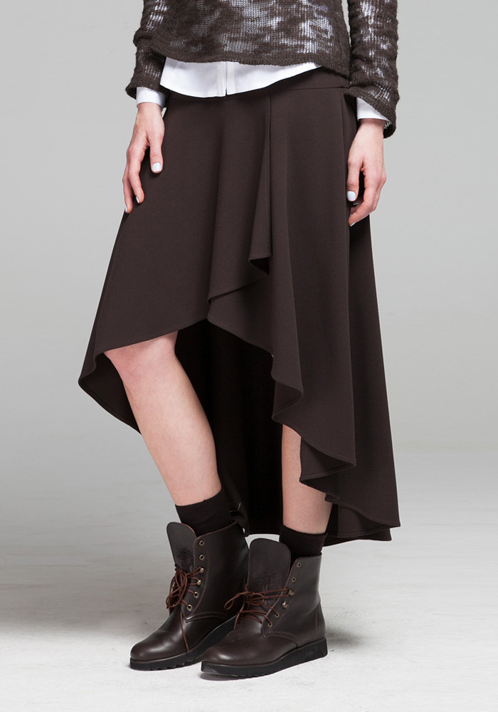 Asymmetric chocolate-colored skirt Rebeca.