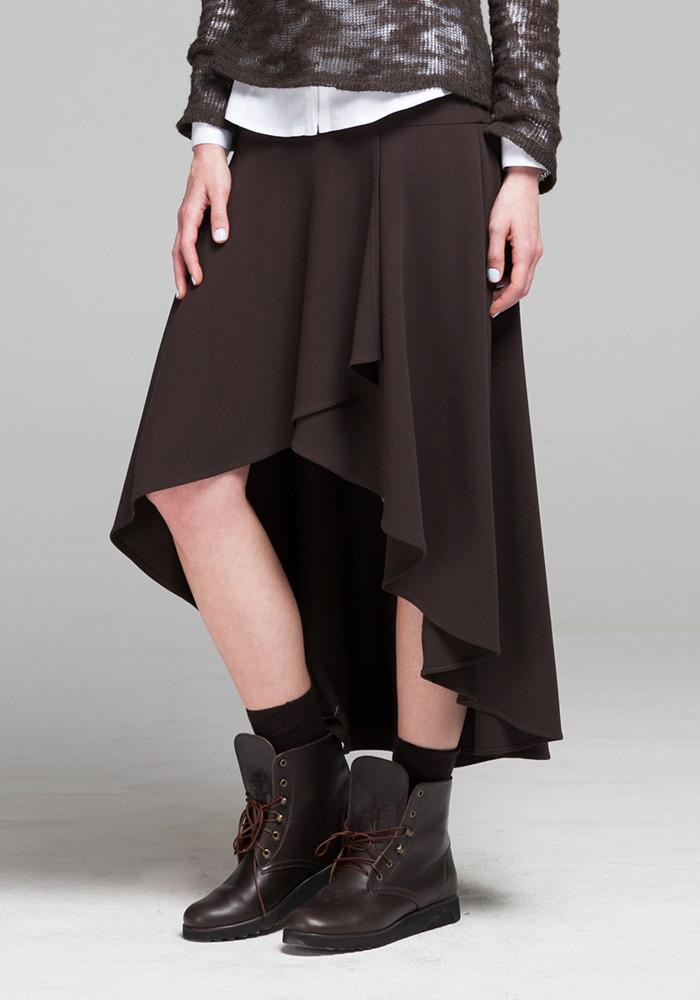 """Асимметричная юбка шоколадного цвета """"Ребека"""""""