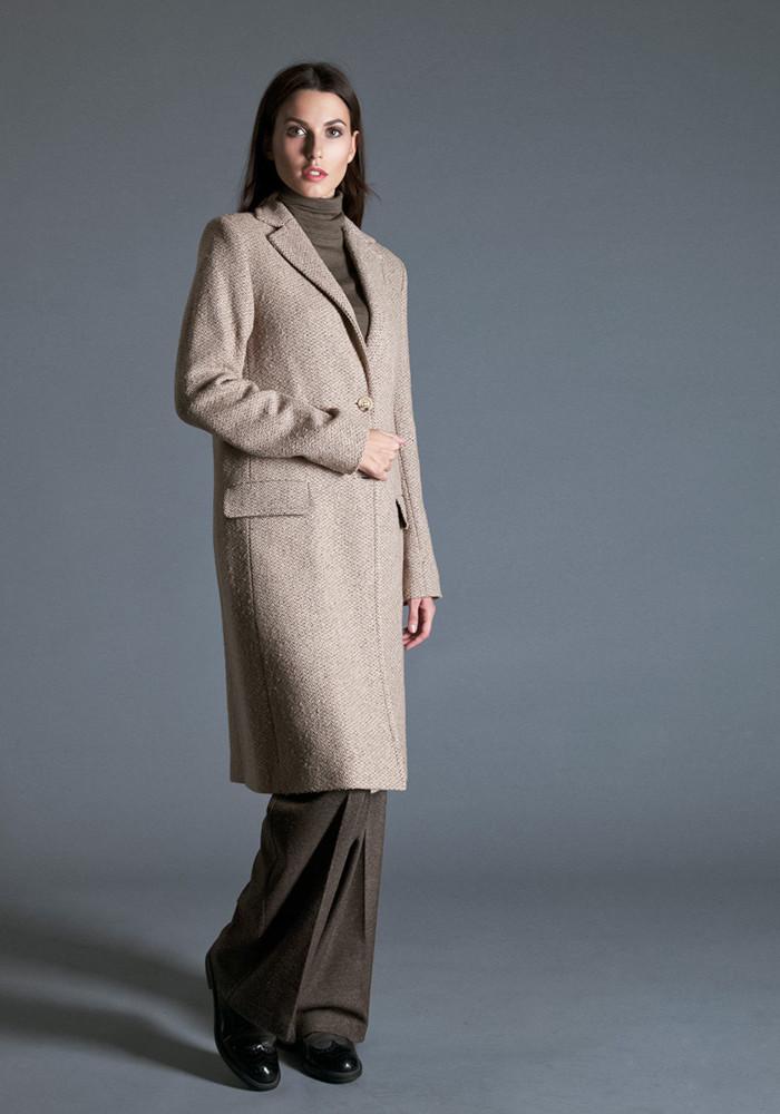 """Шерстяное пальто классического силуэта со шлицей сзади """"Арчи"""" бежевое"""