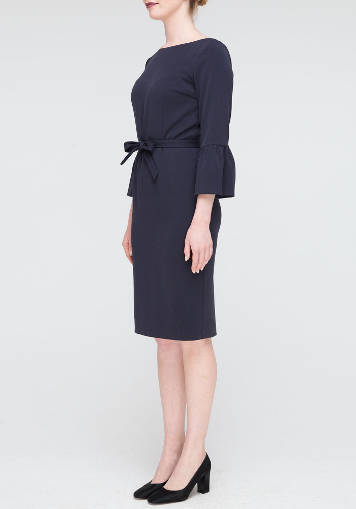 "Sheath dress ""Eyva"" blue with a belt"