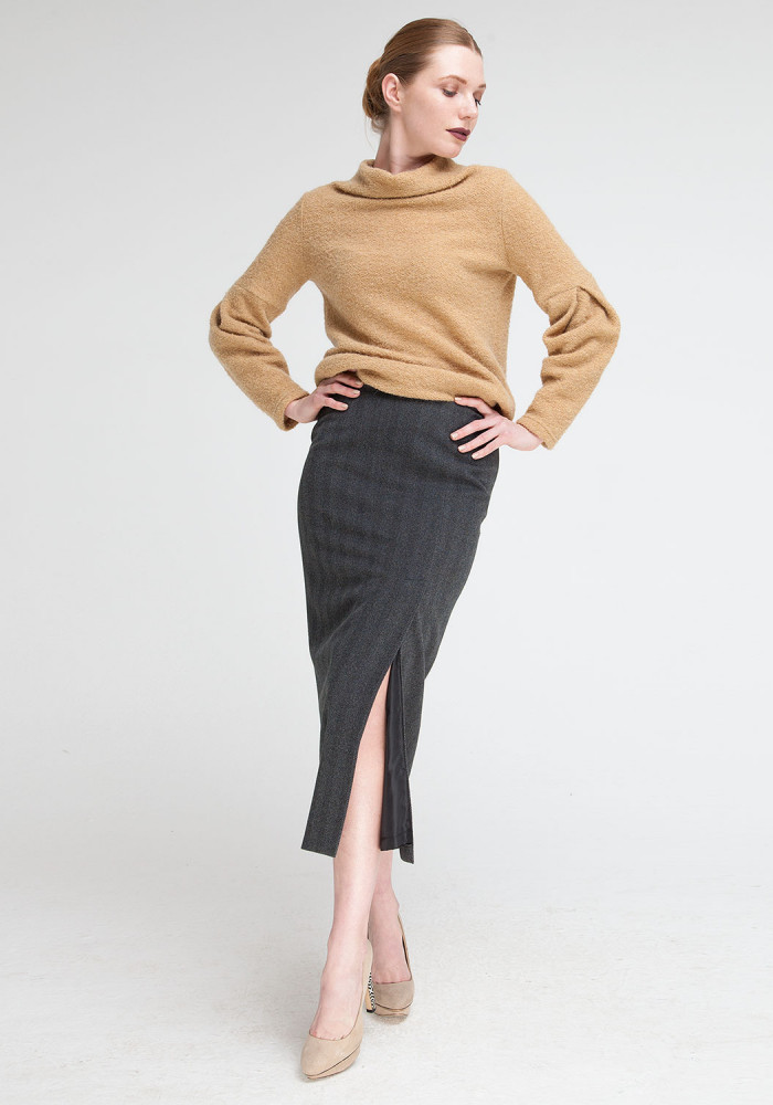 """Полосатая юбка """"Кэнтон"""" серая"""