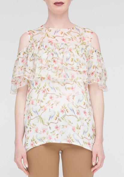 """Шелковая блуза """"Салют"""" с принтом"""