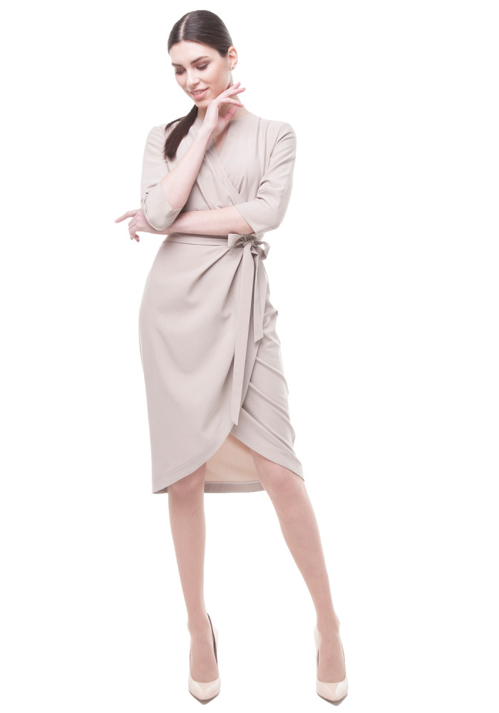"Dress with a wrap ""Central"" beige"