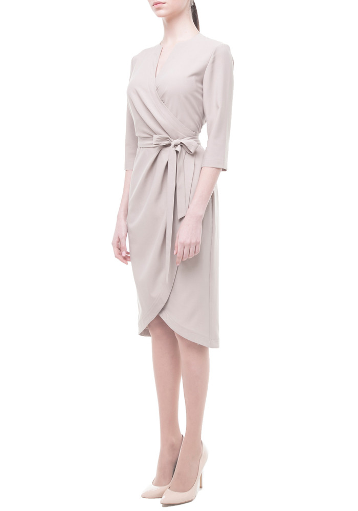 Dress with a wrap beige  Central