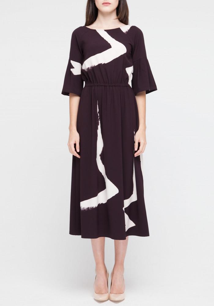 """Платье """"Аниса"""" с графическим принтом бордовое"""