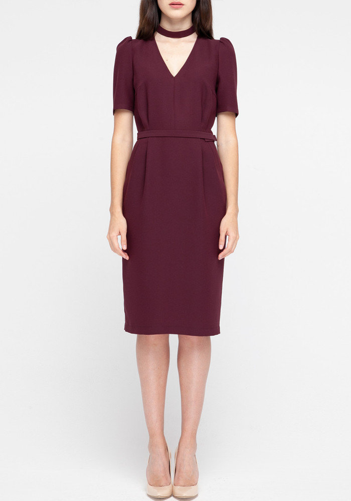 "Sheath dress ""Agata"" with a detachable choker burgundy"