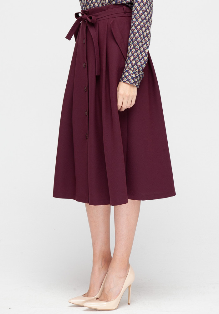 "Burgundy skirt with buttons ""Ariel"""