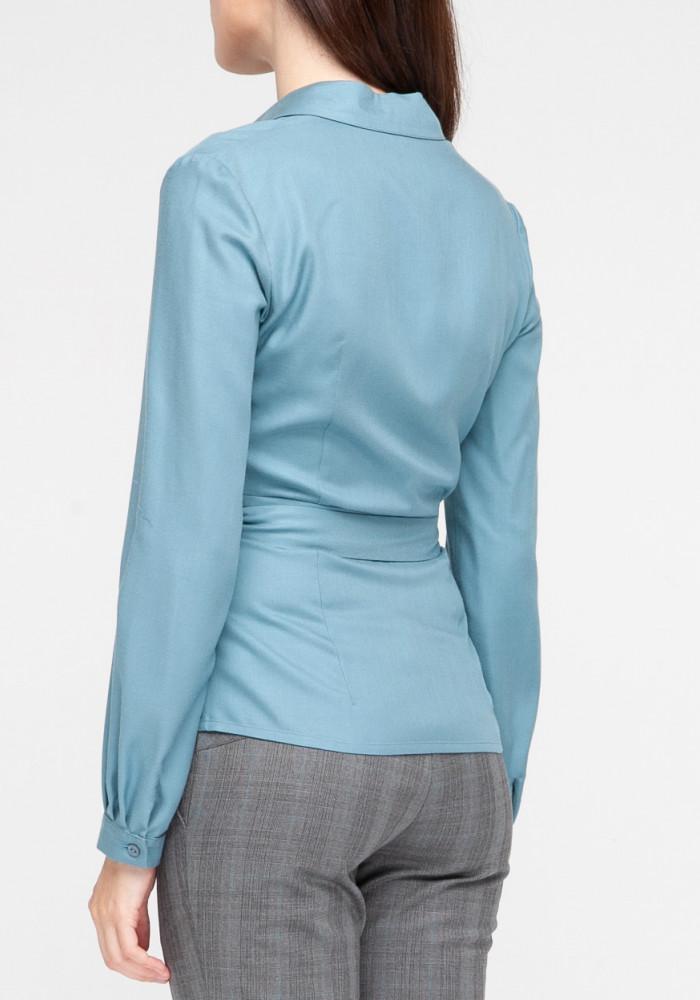 """Блуза голубая на запах """"Стелла"""""""