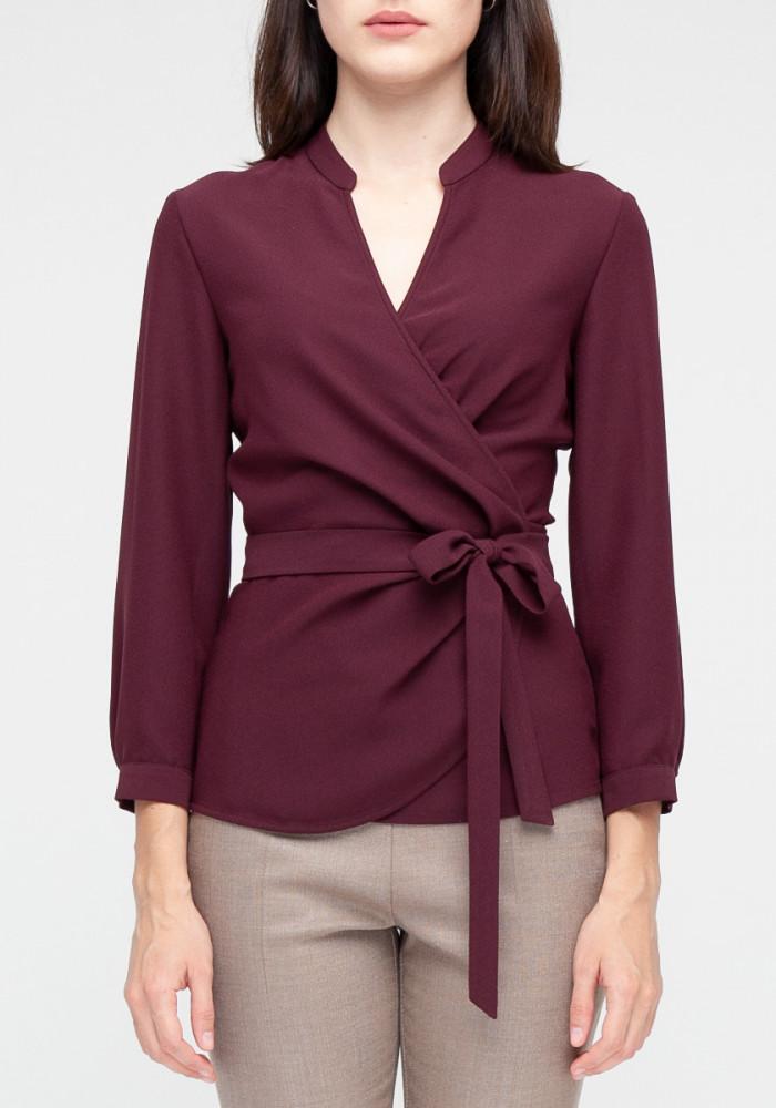 """Блуза на запах  """"Стелла"""" бордовая"""