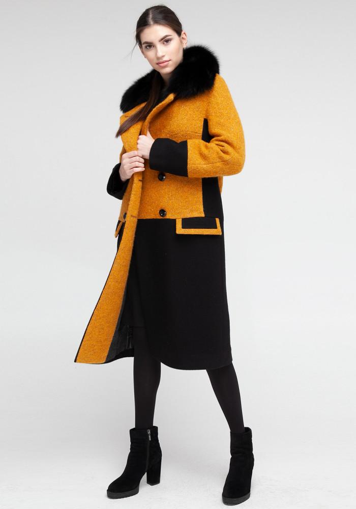 """Зимове пальто """"Ірис"""" бурштин"""