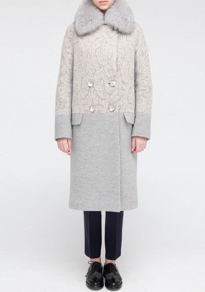 """Зимнее пальто """"Ирис"""" серое"""