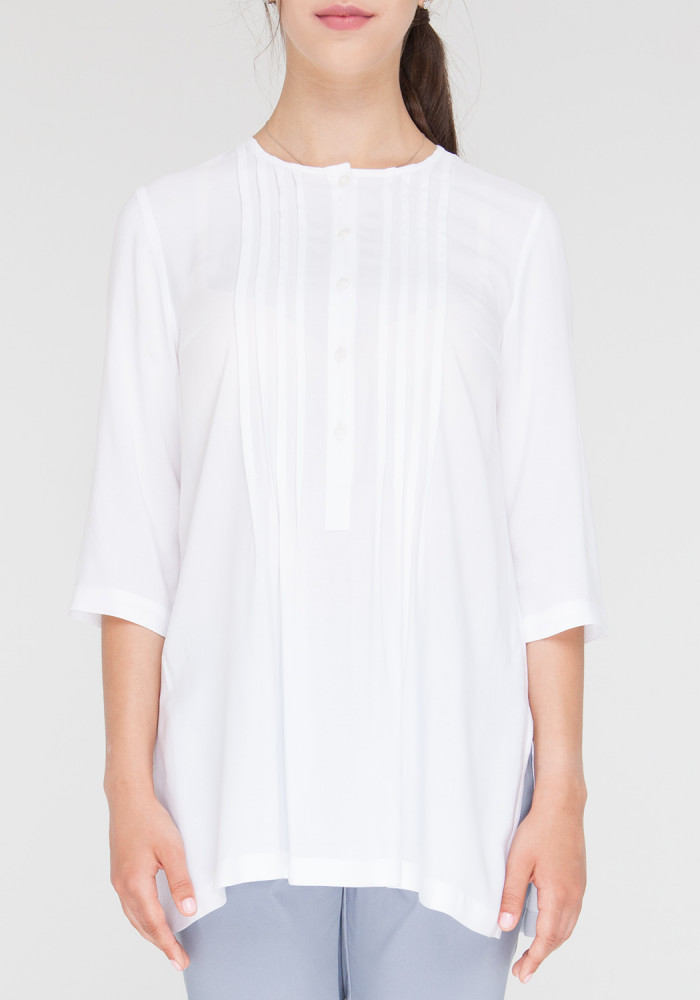 """Блуза с воланами """"Лозано"""" белая"""