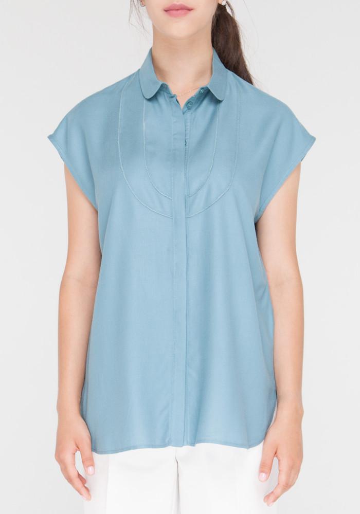 """Рубашка """"Амала"""" с воланами серо-голубая"""