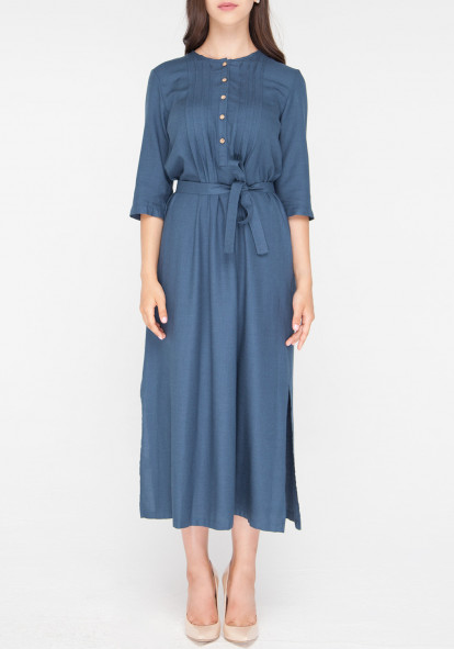 Shirt dress with a belt azure Consuelo