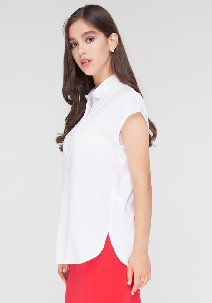 """Рубашка  """"Амала"""" с воланами  белая"""