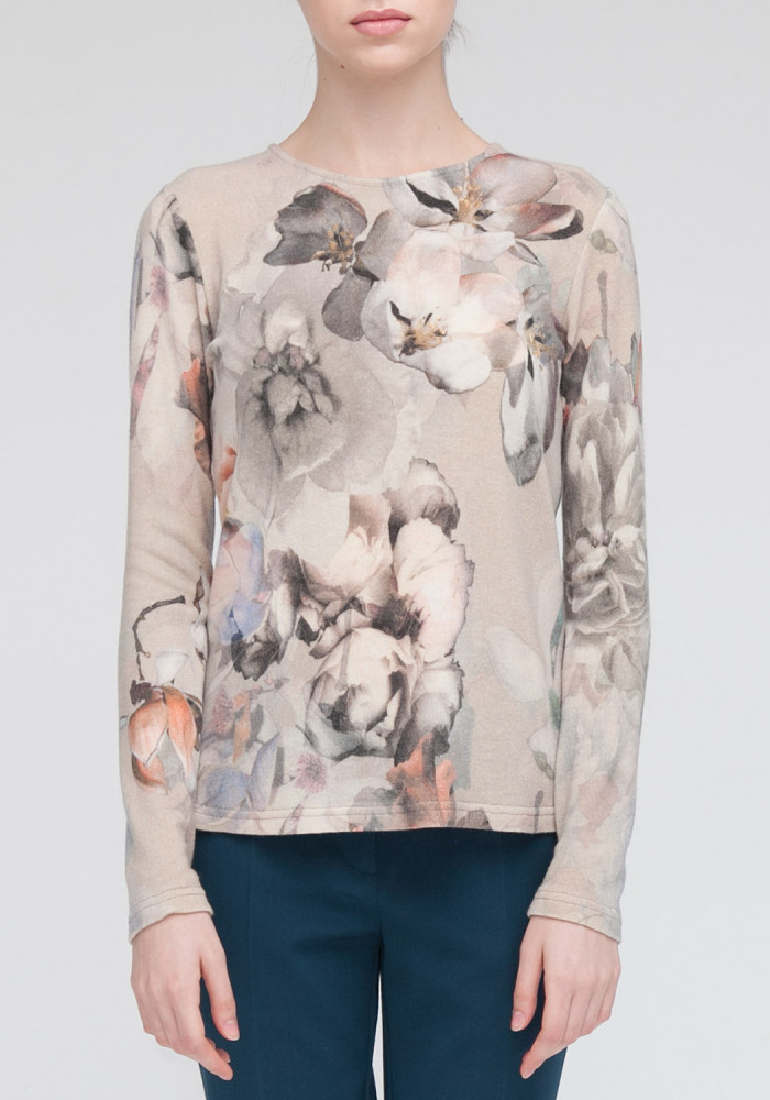 Knitted top  beige in a floral print Amelie