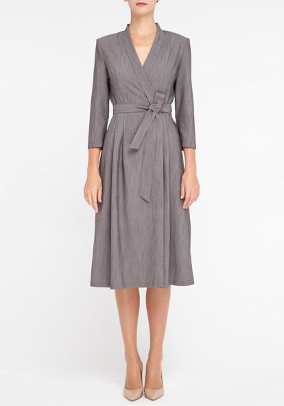 """Платье на запах серого цвета """"Лидия 21"""""""