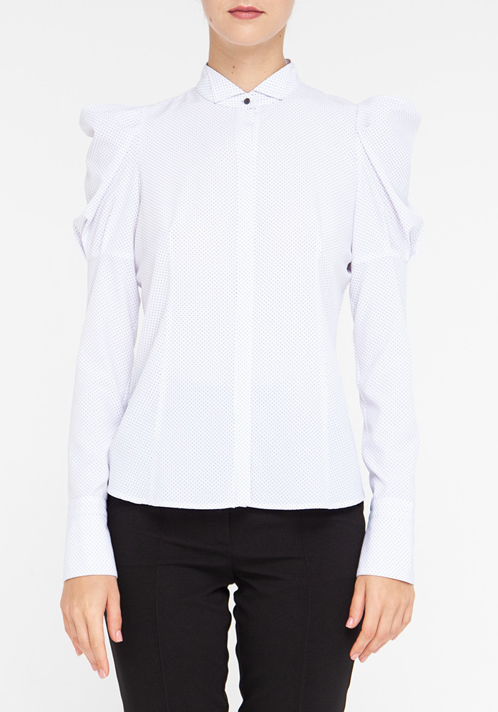 "Blouse with long sleeves white with polka dots ""Casablanca"""