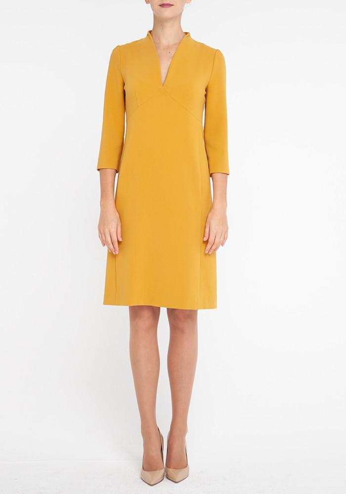 """Приталене плаття """"Бріджит"""" гірчичного кольору"""