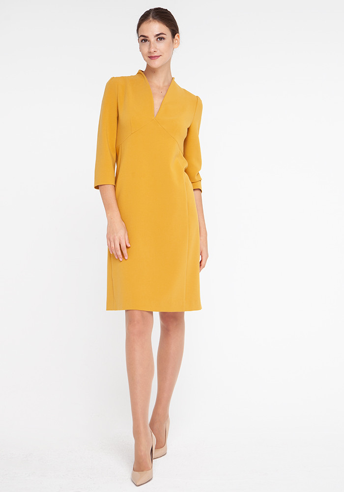 """Mustard color """"Bridget"""" fitted dress"""