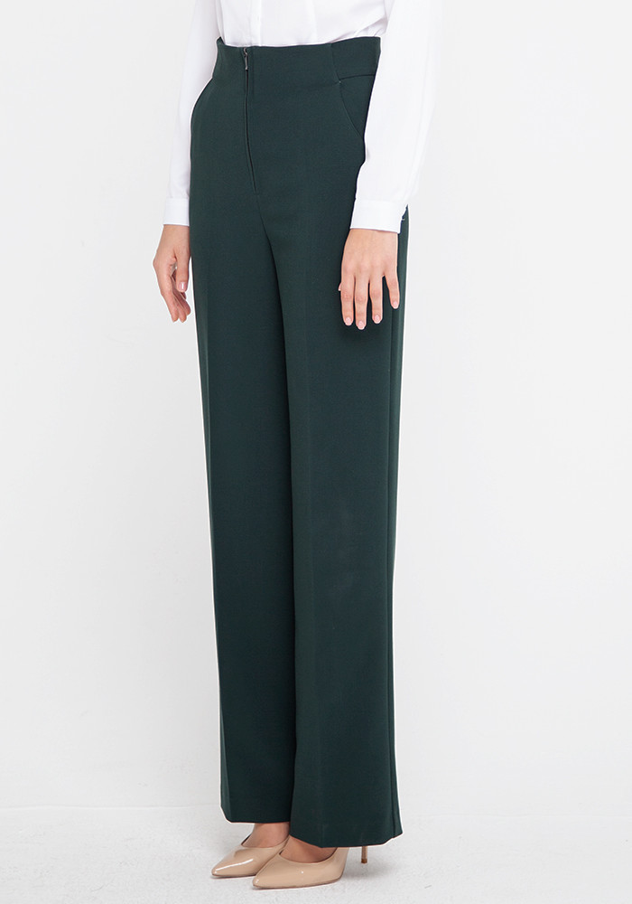 Wide leg pants with a high rise  malachite color Vegas