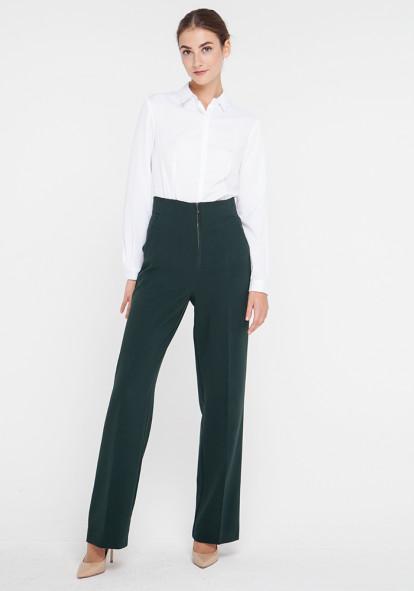 """Широкие брюки с высокой посадкой """"Вегас"""" малахитового цвета"""